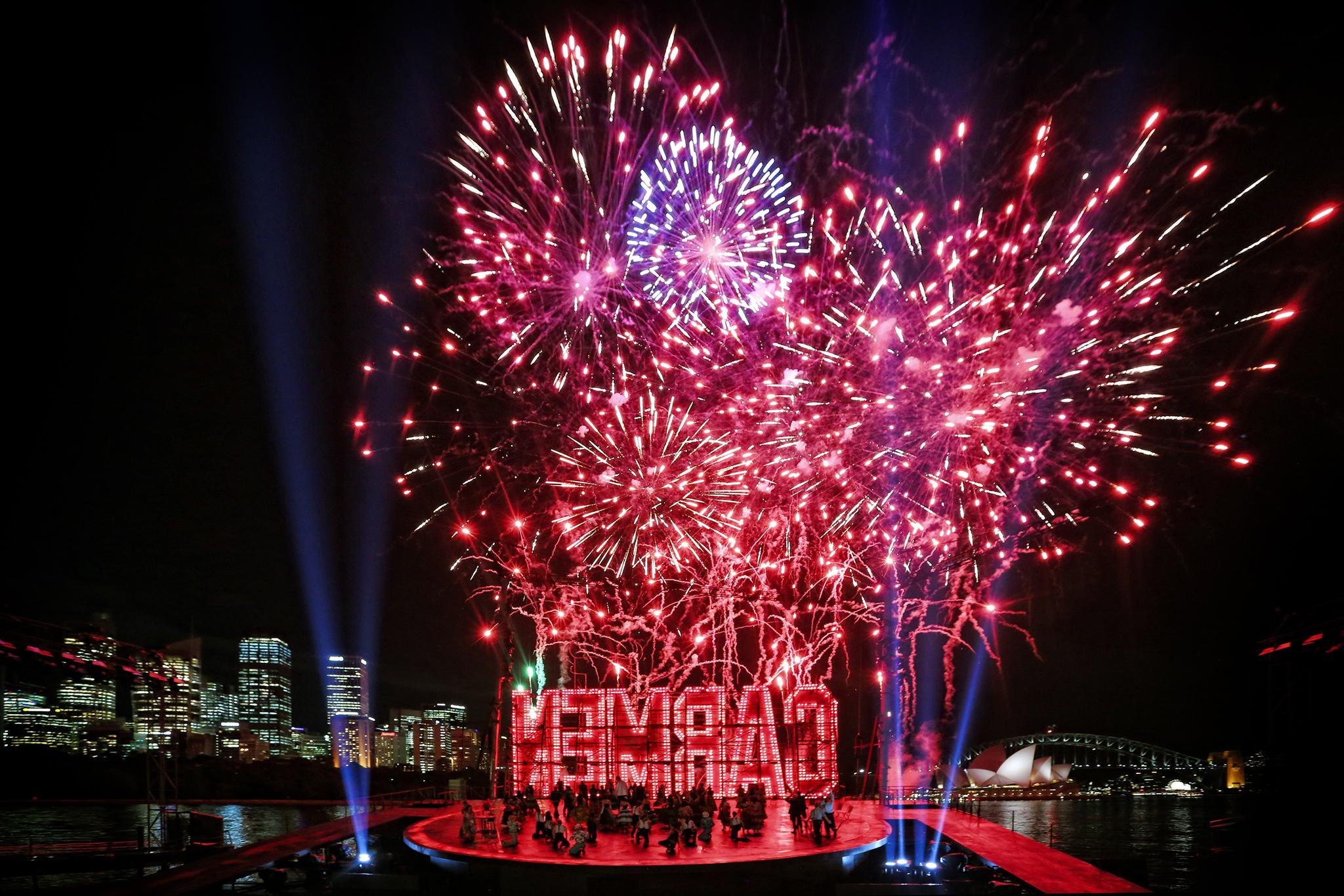 Carmen Handa Opera on Sydney Harbour 2017 production still FIREWORKS full stage wide credit Prudence Upton