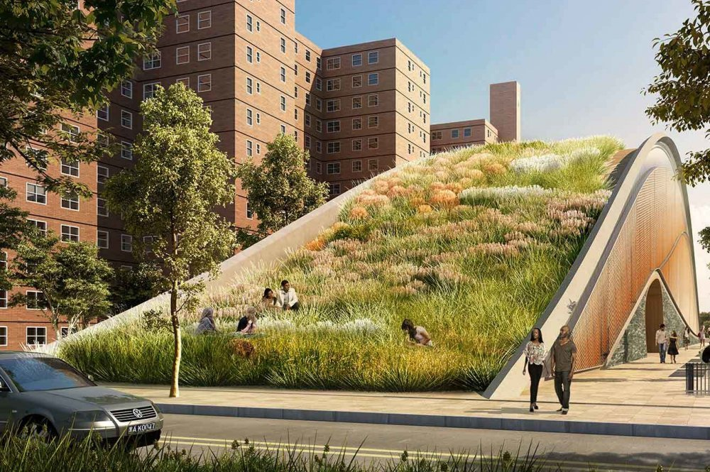 These grassy, man-made hills are being installed in Red Hook