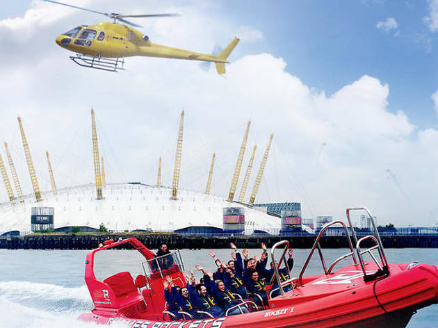 London helicopter tour with high-speed boat cruise