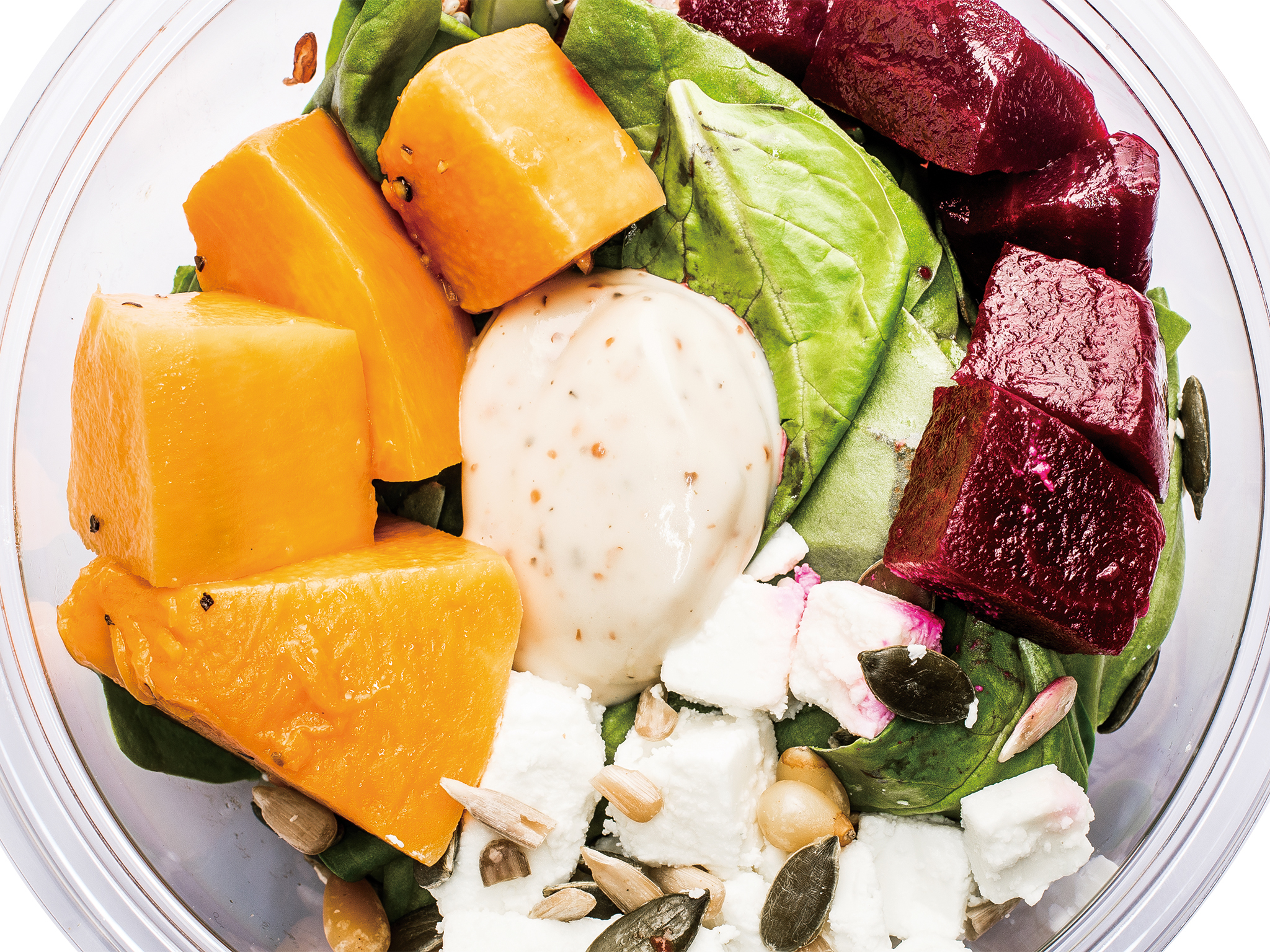 Pret beets, feta and pumpkin superbowl