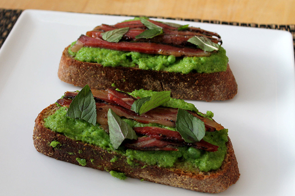 Pea Butter Toast with Bacon