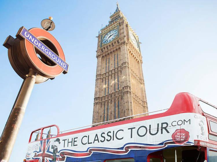 Open-top tour on a vintage bus