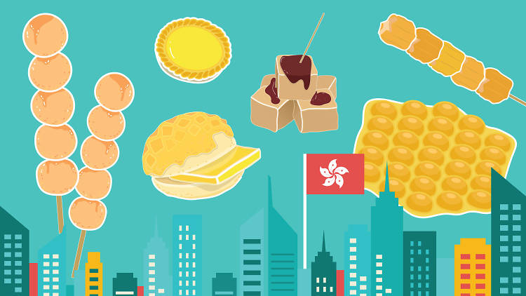 hong kong street food illustration