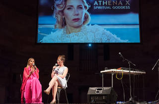 Giselle Stanborough 2017 The Artist as a Real Housewife with Special Guest Athena X performance documentation 01 at NAS Nights April 6 edition National Art School image courtesy the artist photographer credit Peter Morgan