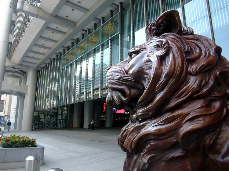 Wounded beasts: HSBC lion statues