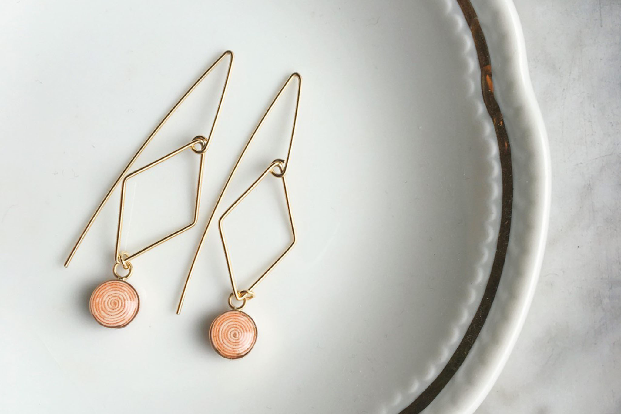 Gold-filled wire earrings and necklace from Blossom and Shine, $98