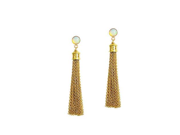 Dionne opal tassel earrings from Plum Flower Creations, $94