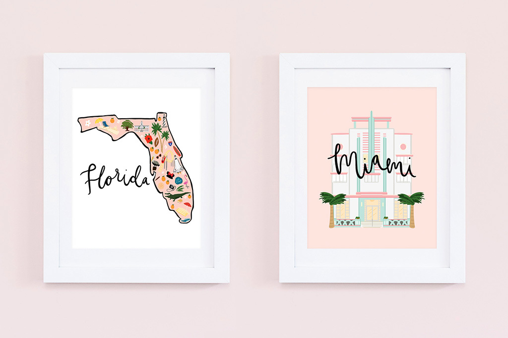 Miami Art Deco and Florida Map from Bloomwolf Studio, $107