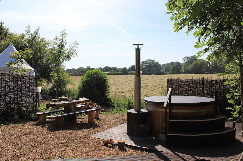 Hot Tub, Plush Tents Glamping campsite, West Sussex, best campsites near London