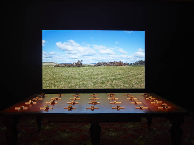 The National Biennial of New Australian Art 2017 Museum of Contemporary Art installation view 01 feat Julie Gough 2015 The Gathering (c) MCA and photographer credit Felicity Jenkins