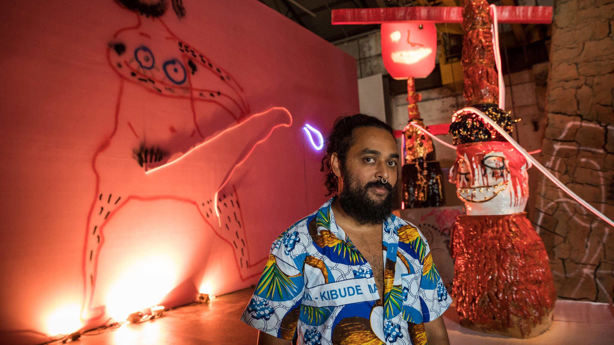 Ramesh Mario Nithiyendran 2017 portrait taken at Carriageworks as part of The National Biennial of New Australian Art 2017 (c) Time Out Sydney photographer credit Daniel Boud