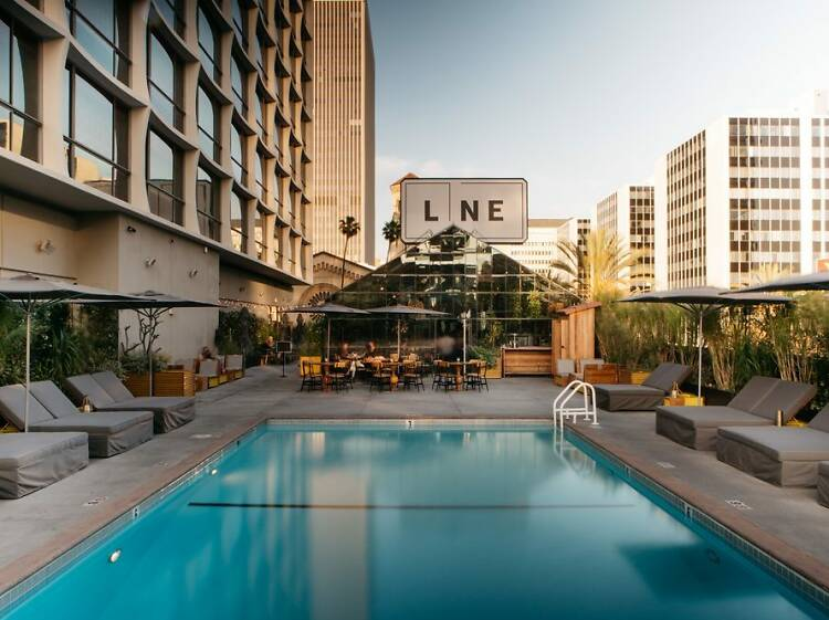 Lounge at the area's coolest hotel, the LINE LA