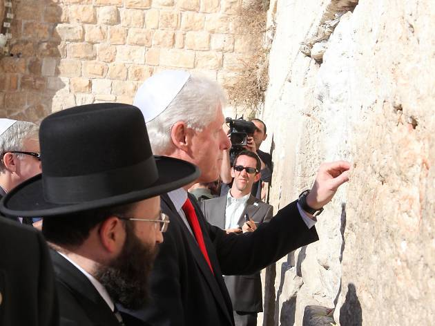 Bill Clinton, is visiting the Western Wall