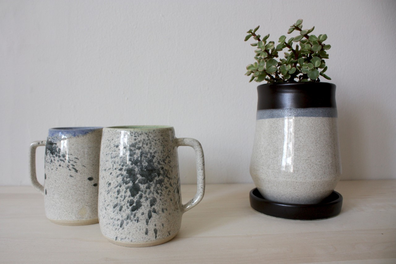 Shelby Page Ceramics mugs and planter
