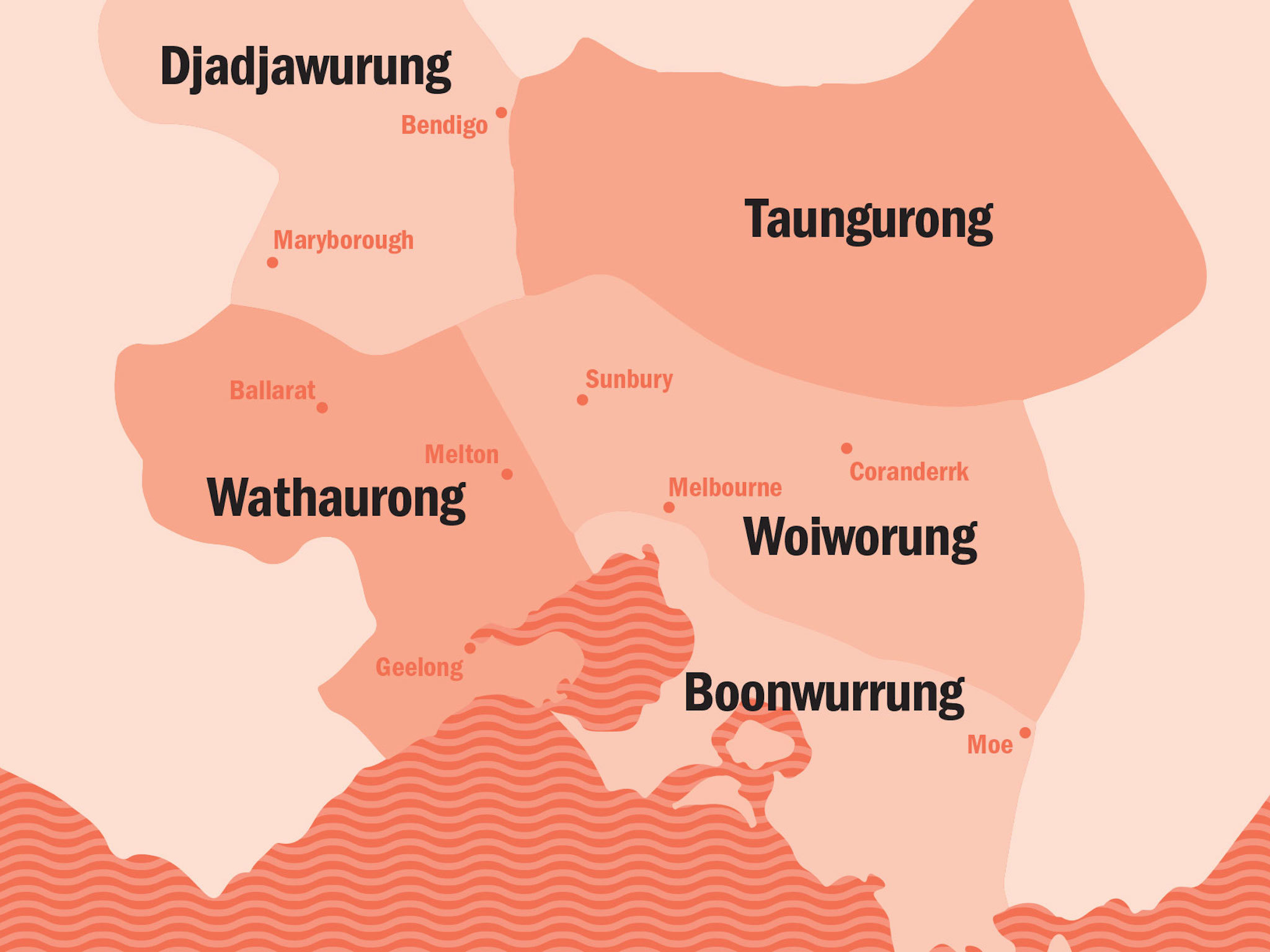 Boon Wurrung words: Kulin Nation map