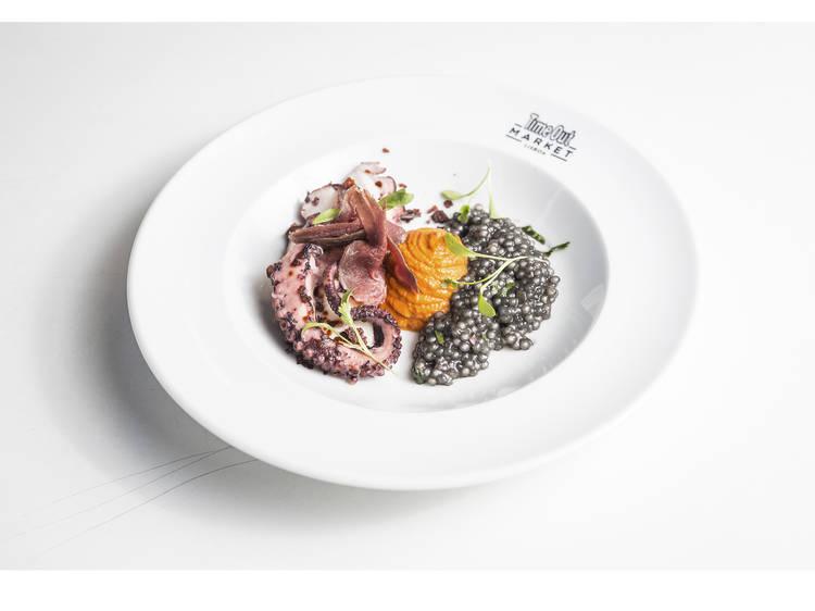 Roast octopus with black tapioca - O Surf & Turf