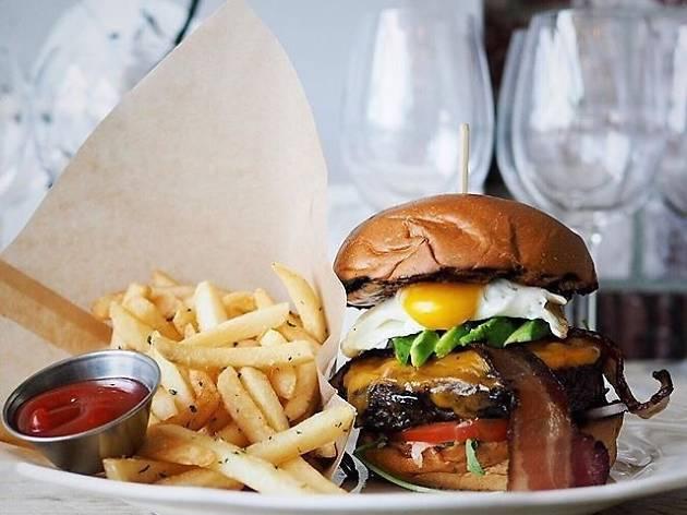 Two-Hand Burger at Herringbone Santa Monica