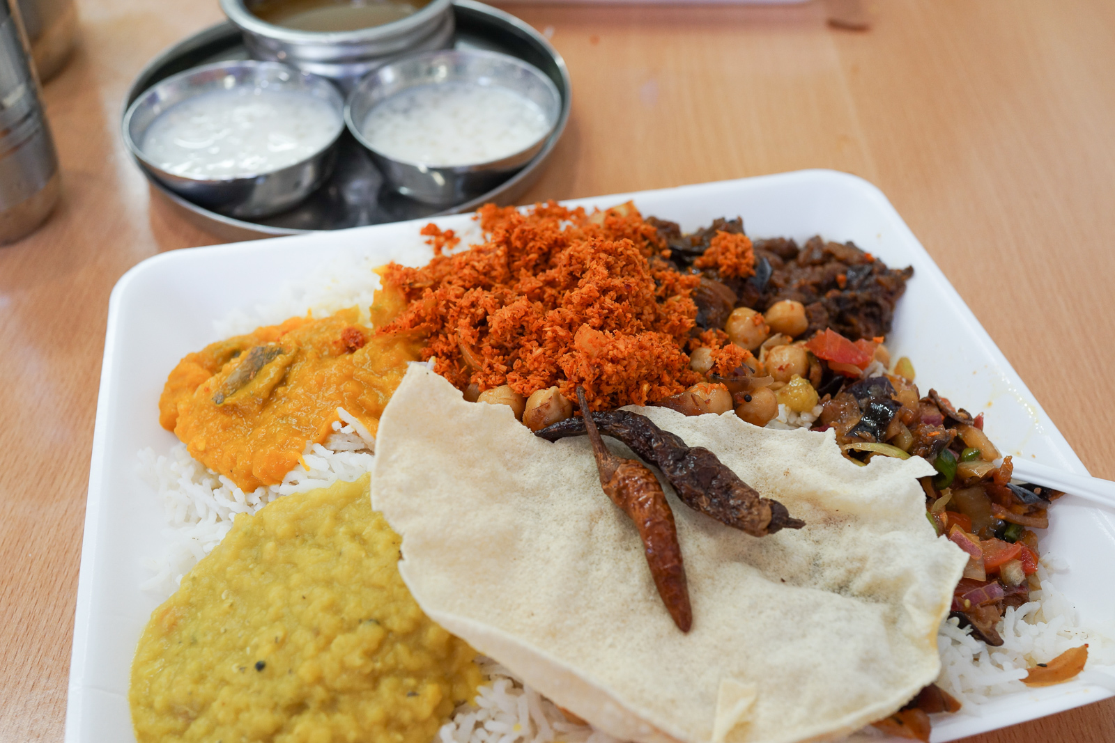 A mixed plaf vegetarian curries