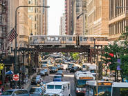Trains and buses in the Chicago Loop