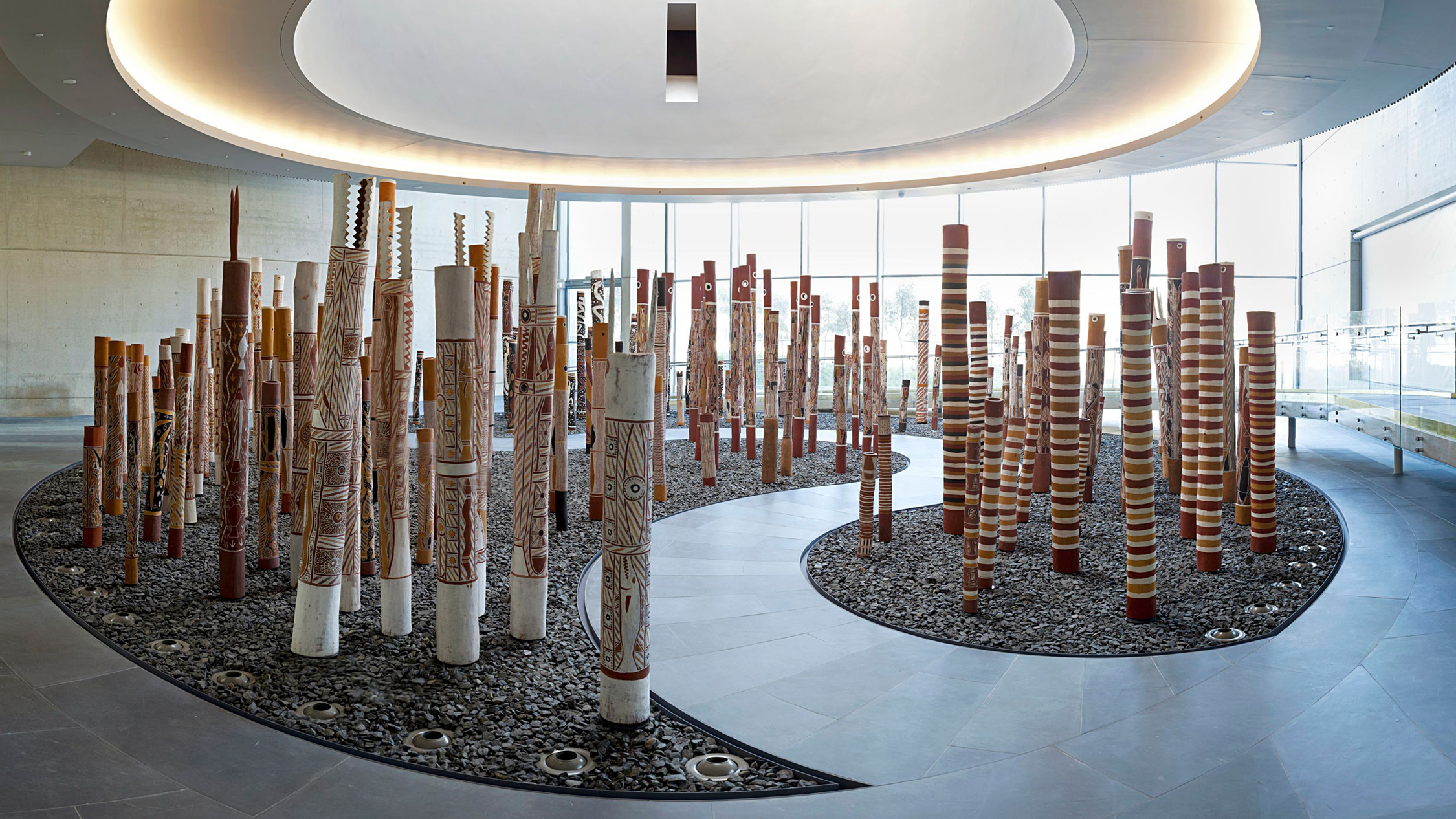 National Gallery of Australia interior installation view The Aboriginal Memorial 1987–88 Ramingining Artists image courtesy NGA Canberra