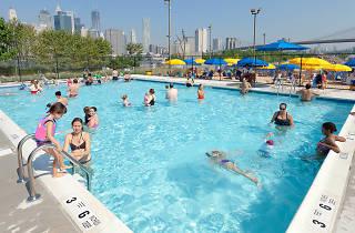 The pop-up pool at Brooklyn Bridge Park
