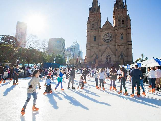 People ice skating at St Mary's Cathedral