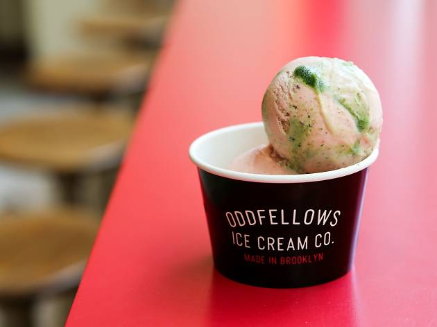 Kale-strawberry sorbet OddFellows Ice Cream Co.