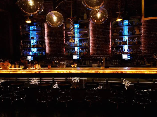 Inside a dimly lit bar