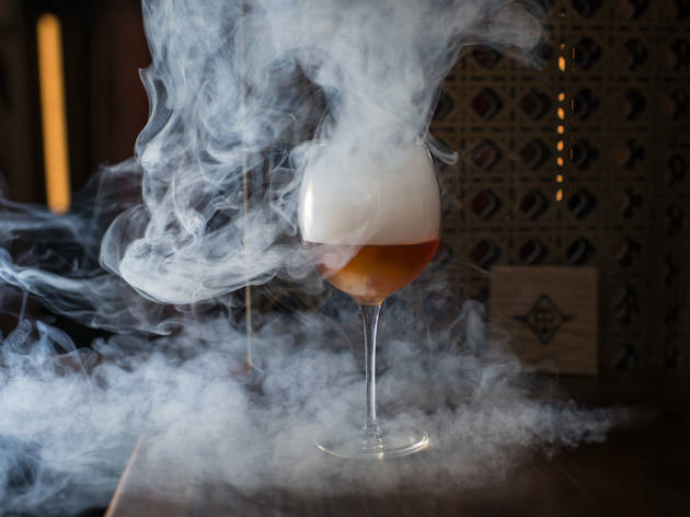 Smoking rum old-fashioned at Fine and Rare