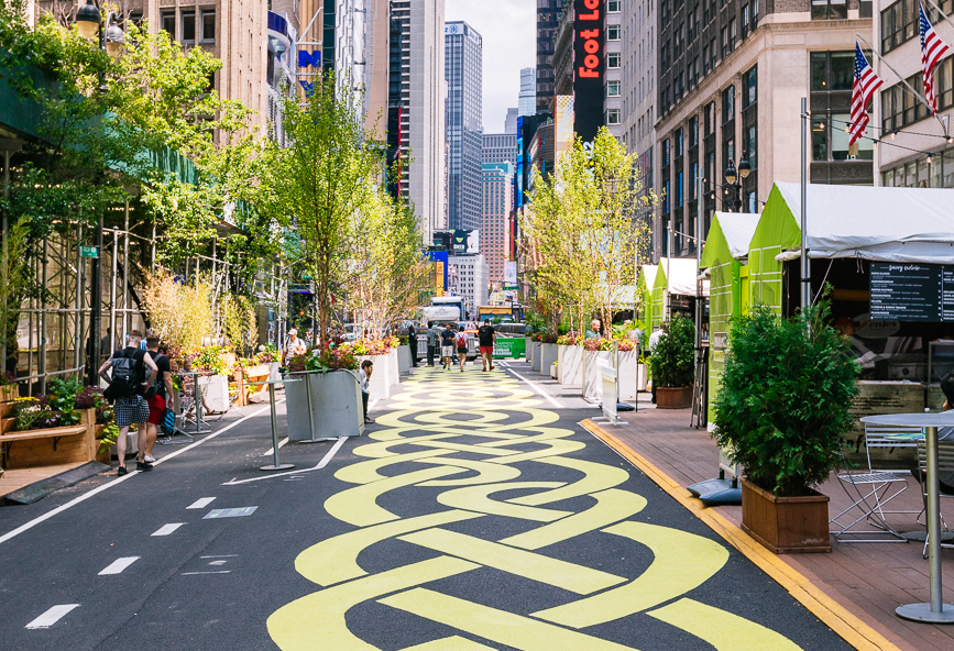 Two blocks of Broadway have been transformed into an urban green space