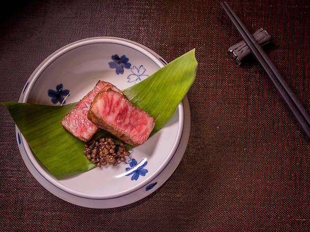 Wagyu beef with sanshu at Omakase