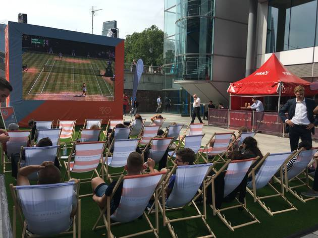 St Katharine Docks' Wimbledon Big Screen