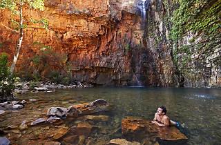 Guy swimming at Emma Gorge on El Questro Station, located near Kununurra