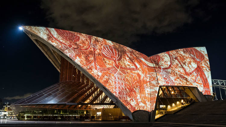 Sydney Opera House with Indigenous light projection on the sails