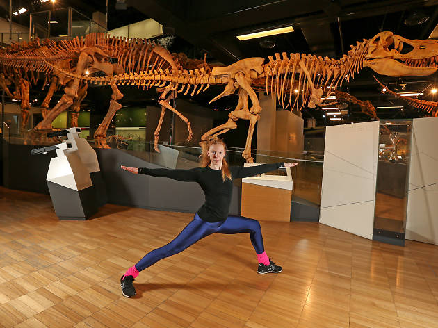 Museum Moves in front of dinosaur skeleton