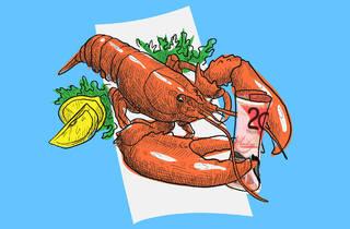 Lobster with 20 dollar bill