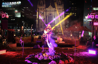 Musician playing at Leempeeyt Weeyn' Indigenous Campfire at Fed Square