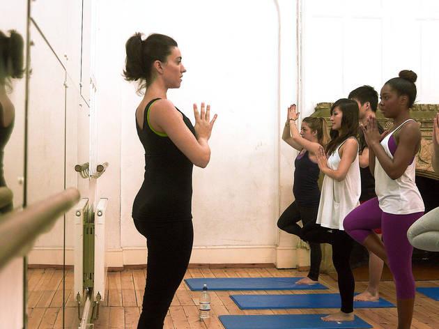 Generic yoga teacher leading class