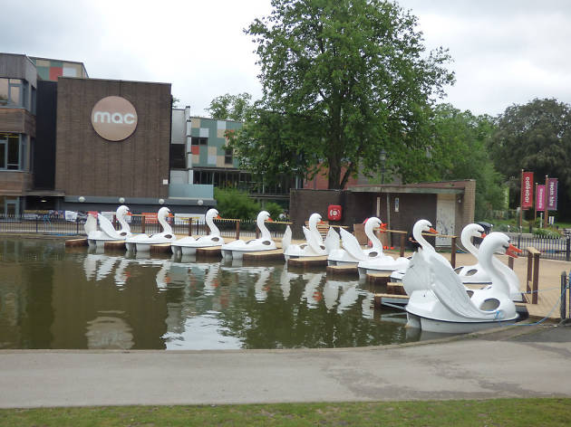Swan boats at Cannon Hill Park, Birmingham
