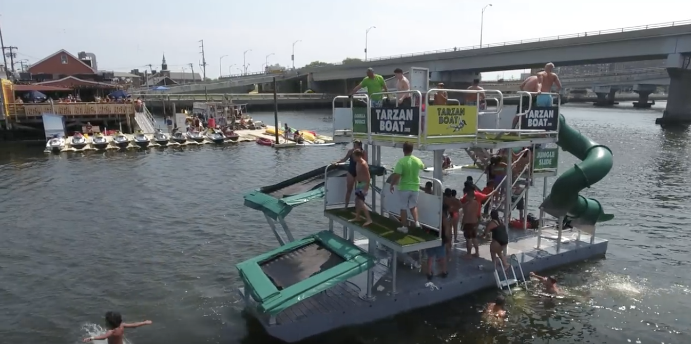 There's a floating pop-up water park in the Rockaways