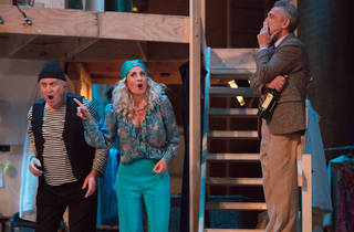 Noises Off 2017 Melbourne Theatre Company production still 01 feat Steven Tandy, Nicki Wendt, Simon Burke photographer credit Stephen Henry
