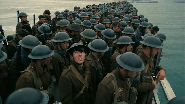 A still from the film Dunkirk of soldiers landing on the beaches