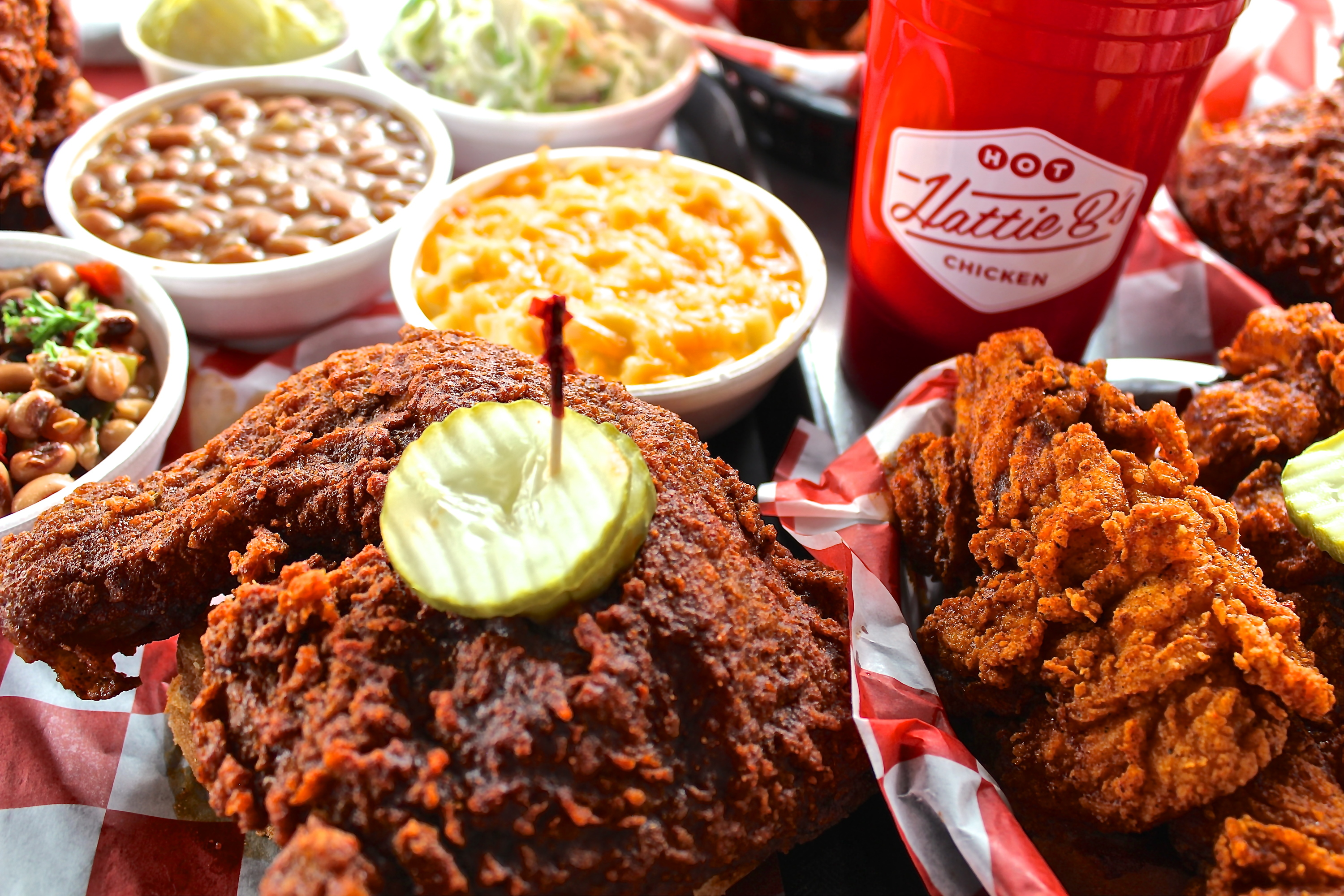 A basket of fried chicken and sides