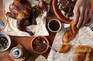 Che roast chicken and empanadas