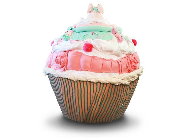 A fabric cupcake sculpture