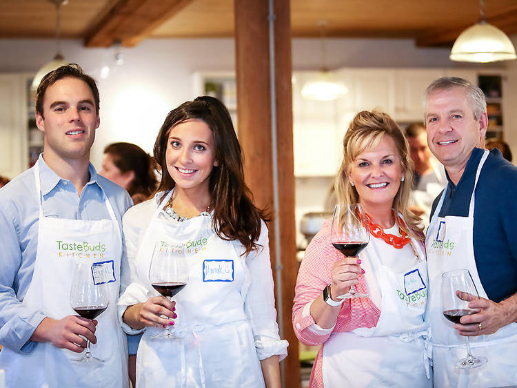 Cooking With Wine at Taste Buds Kitchen