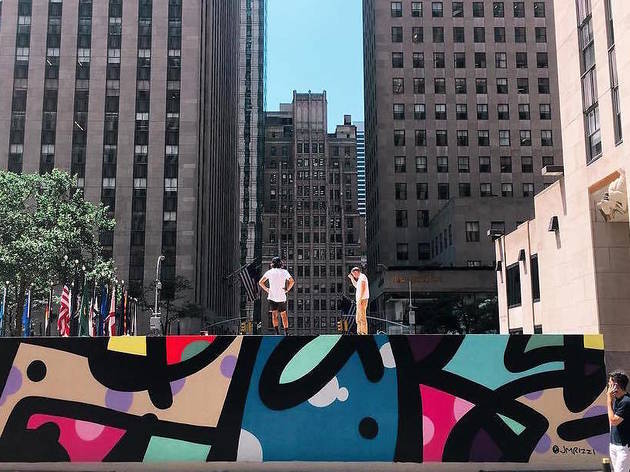 There's a massive graffiti mural in Rockefeller Center for one week only