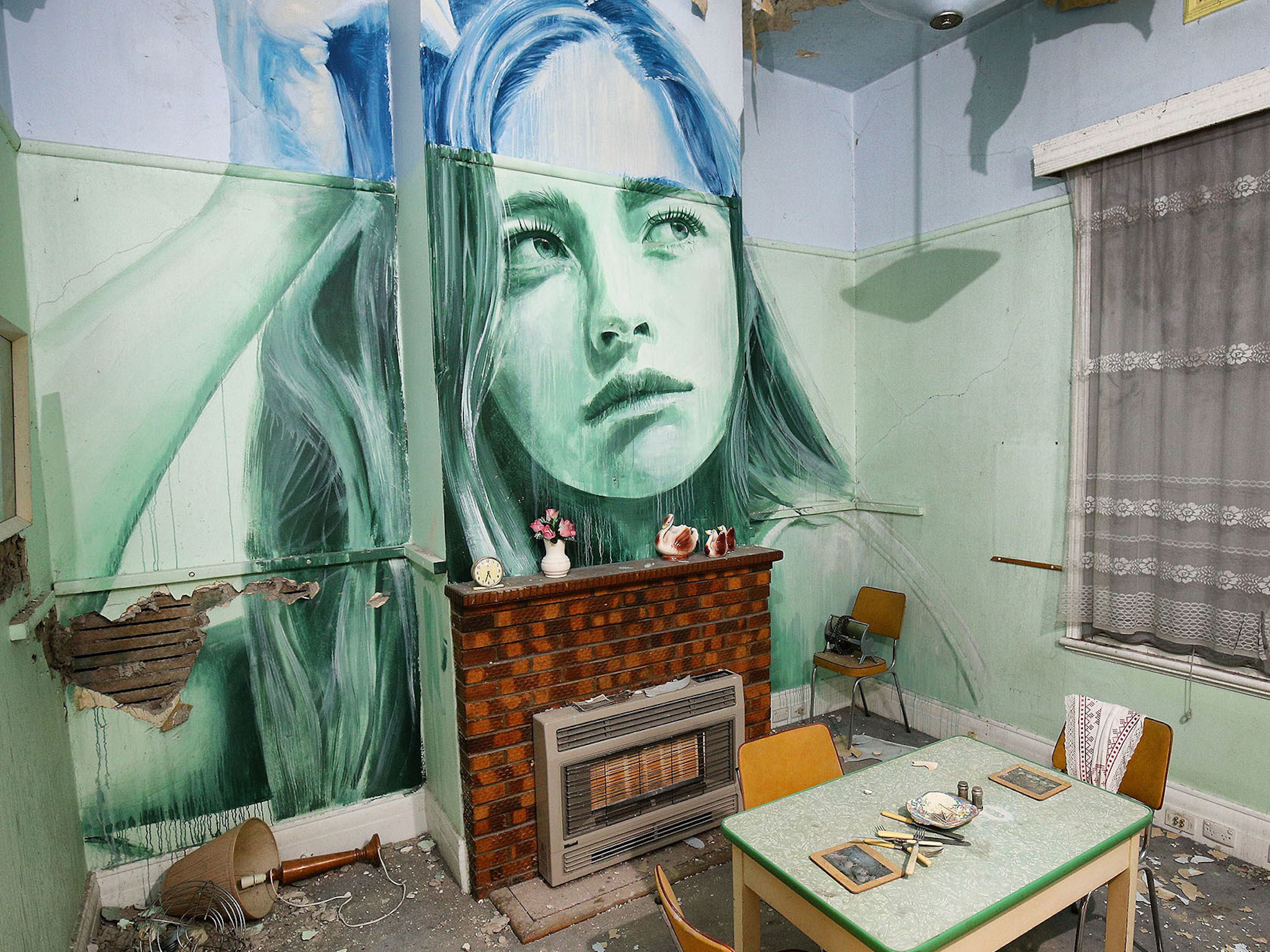 Melbourne street artist Rone has transformed an abandoned house