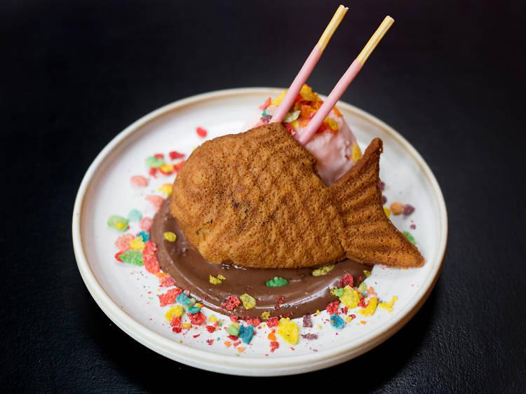 Taiyaki con helado de bombón