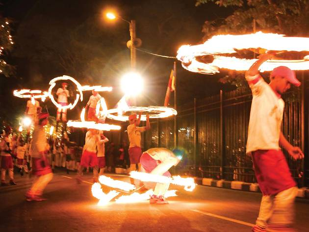 The impressive display of fire dancers